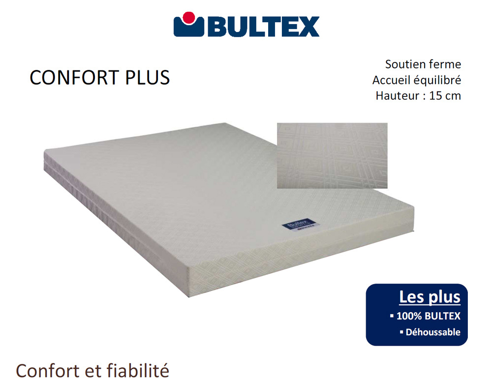 matelas bultex confort plus magasin de literie jirdeco la londe var. Black Bedroom Furniture Sets. Home Design Ideas